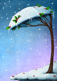 Snowy tree umbrella Stock Photography