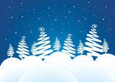 Snowy trees vector illustration