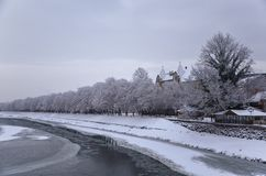 Snowy trees along the frozen coastline of the river, winter in Uzhhorod, Ukraine. View of the snowy embankment of the river with floating ice, snow trees along Royalty Free Stock Image