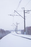 Snowy trees along a railway. Amazing winter landscape of snowy trees along a railway Stock Photo