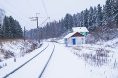 Snowy trees along a railway. Amazing winter landscape of snowy trees along a railway Royalty Free Stock Photography