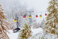 Snowy trees. colorful rail car Dolomites Italy stock photo