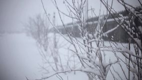 Snowy trees and fence along winter road covered in stock video footage