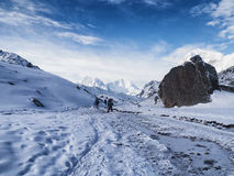 Snowy Trekking Route to Gorak Shep Royalty Free Stock Images