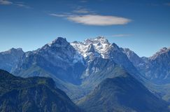 Snowy Triglav peak, Vrata and Kot Valley, Julian Alps, Slovenia Stock Images