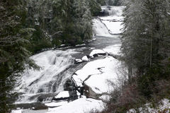 Snowy Triple Falls Stock Photo