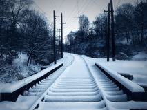 Snowy Trolley Track. Streetcar track covered in snow Stock Photography