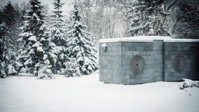 Snowy-U-Bahnbelüftungsöffnungsgebäude Stockfotografie