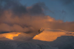 Snowy Uludag mountains. At sunset in Bursa Turkey Stock Photo