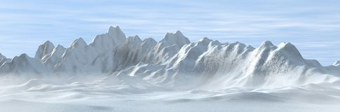 Snowy und nebelige Berge lizenzfreie abbildung