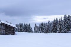 Snowy und nebelige montains Winterlandschaft stockfoto