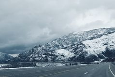 Snowy Utah Mountain Highway Pass royalty free stock images