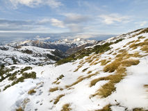 Snowy Valley. Mountain landscape in winter, covered with snow Royalty Free Stock Photo