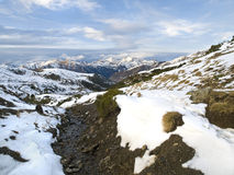 Snowy Valley. Valley of a snow mountain area with a small river in the foreground Stock Photography