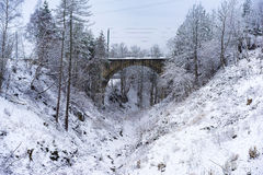 Snowy valley with an arched bridge. Snowy valley with an arched road or rail bridge at the end in a cold winter landscape Royalty Free Stock Images