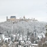 Snowy Veste Coburg during Winter royalty free stock images