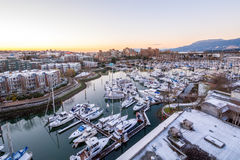 Snowy view of Granville Island in Vancouver Royalty Free Stock Photo
