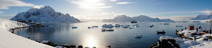 Snowy views from the Brown Station on Paradise Harbor / Island in Antarctica. royalty free stock images