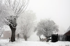 Snowy village Stock Photography