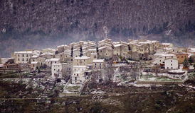 Snowy village in Abruzzo Italy Royalty Free Stock Image
