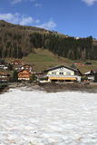 Snowy village in Dolomites Royalty Free Stock Images