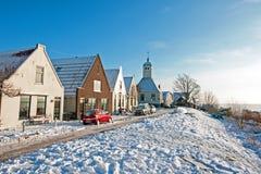 Snowy Durgerdam in winter in the Netherlands Stock Photo