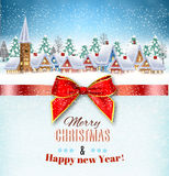 Snowy village landscape. New year and Christmas winter village  landscape background and a red gift ribbon. Vector illustration. concept for greeting or postal Stock Photo