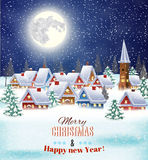 Snowy village landscape. New year and Christmas winter village  night landscape background. Vector illustration. concept for greeting or postal card Stock Photos