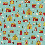 Snowy village seamless pattern 2 Stock Photo