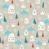 Snowy village seamless pattern Stock Photos