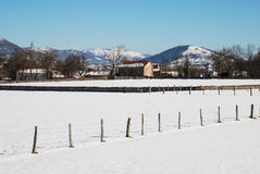 Snowy village. South of Cantabria, Spain Royalty Free Stock Photography