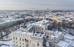 Snowy Vilnius stockfotos