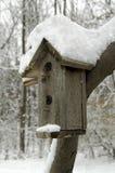 Snowy-Vogel-Haus Lizenzfreie Stockfotos