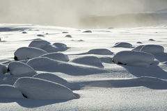 Snowy volcanic rocks in south Iceland. Near Dyrholaey royalty free stock photography
