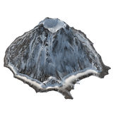 Snowy volcano on an isolated white background .3d illustration, rendering Royalty Free Stock Photos