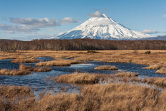 Snowy vulcan on Kamchatka. Stock Photo