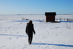 Snowy walk. Woman walks in snow towards a fisherman´s cottages in a nordic winter landscape Royalty Free Stock Image