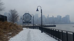 Snowy walk. Paulus hook jersey City Stock Photography