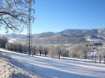 Snowy walley. In beautiful landscape Stock Photo