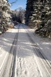 Snowy way. Freezing winter day and fresh snow Royalty Free Stock Photography
