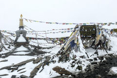 Snowy weather in Thorong La Pass (5416m), Nepal Royalty Free Stock Photo