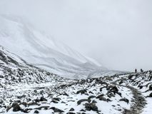 Snowy weather in Thorong La Pass (5416m), Nepal Royalty Free Stock Photos