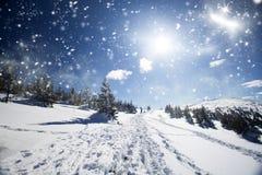 Snowy-Weg auf dem Hügel Stockfotografie