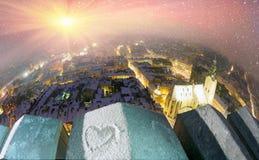 Snowy-Weihnachten Lemberg Lizenzfreies Stockfoto