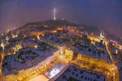 Snowy-Weihnachten Lemberg Stockfotos