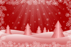 Snowy-Weihnachtsbaum-Szene Stockfotografie