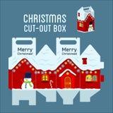 Snowy-Weihnachtshauskasten Stockfotos