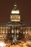 Snowy Wenceslas Square in the night, Prague Stock Photography