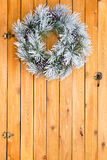 Snowy white frosted Christmas wreath Stock Photo
