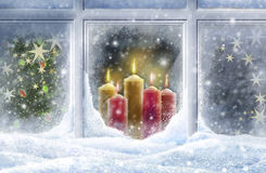 Snowy window vector illustration